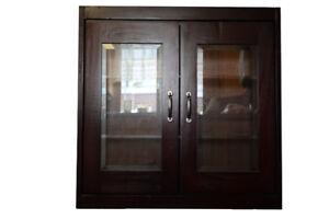 Beveled glass cupboard wall insert
