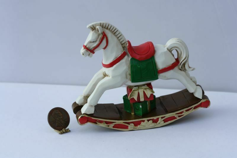 Dollhouse Miniature Large Christmas Rocking Horse in White, Red  and Green
