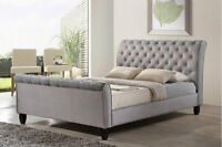 Upholstered sleigh tufted bed