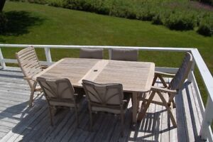 Teak Extendable Patio Table and Chairs Set, Sits 8