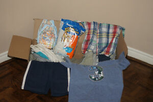 Box of Boys Summer Clothes. Sandals + Swim Diapers