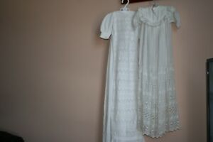 Two vintage baby christening dresses