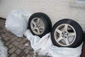 17'' MERCEDES mags plus center capswith 225 65 17 winter tires