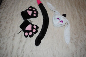 Cosplay/anime  cat -long black tail and rabbit hat