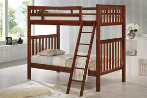 Single over Single Cherry Hardwood Bunk Bed -by Bunk Beds Canada