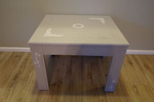 Shabby Chic Subtle Grey with Stencil Details Side Table