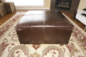 Large espresso coloured all-leather ottoman / coffee table