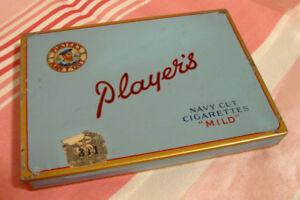Boîte de cigarettes vintage vide Players en métal