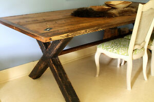RUSTIC, PRIMITIVE HARVEST TABLE, HAND CRAFTED, 8 FEET LONG