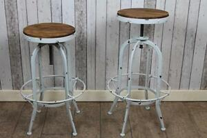 shabby chic industrial style swivel bar stools old white. Black Bedroom Furniture Sets. Home Design Ideas