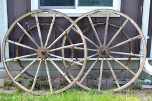 Vintage Wooden Farm Implement Wheels