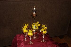 Crystal Hand Painted Decanter Set with 24K Gold