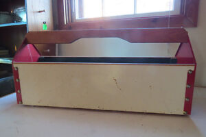34 inch sturdy wood and metal tool box, well made.