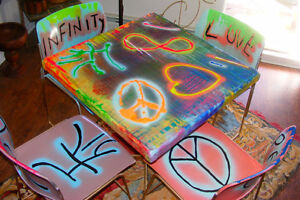 StreetStyle Upcycled Dining Set Graffiti Joy Peace Love Infinity