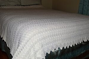 Hand knitted double bed sized bedspread