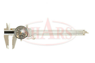 Shars 0- 6 Stainless 4 Way Dial Caliper .001 Shock Proof Black Face New