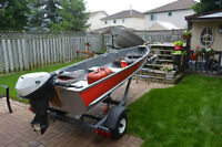 12' ALUMINUM BOAT MOTOR AND MATCHING TRAILER