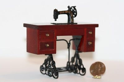 Dollhouse Miniature 1:12 Sewing Machine Table in Dark Wood for sale  Shipping to Nigeria
