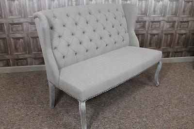 BUTTON BACK SOFA FRENCH STYLE ST. EMILION UPHOLSTERED 2 SEATER BENCH IN STONE