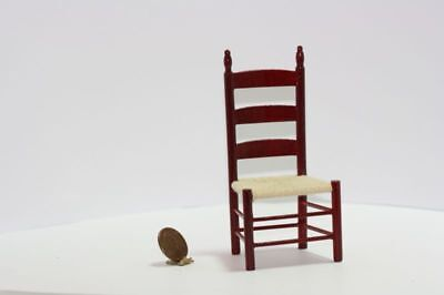 Dollhouse Mahogany Wood Ladderback Chair with Hand Strung -