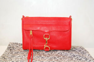 Authentic Rebecca Minkoff Mini Mac handbag - red pebbled leather