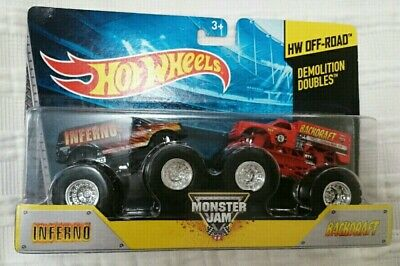 HOT WHEELS MONSTER JAM INFERNO AND BACKDRAFT DEMOLITION DOUBLES DIECAST