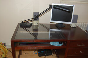 Tempered Glass Top Computer Desk & Cabinet – MAKE AN OFFER