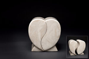 MARBLE DOUBLE HEARTS HUSBAND & WIFE COMPANION URN