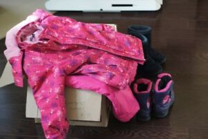 Box of Girls Winter Clohtes Size 5/6 includes snow suit & boots