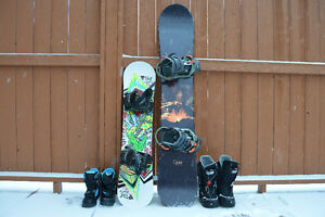 Snowboards with bindings and boots