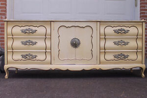 French Provincial dresser with mirror and King bed headboard.