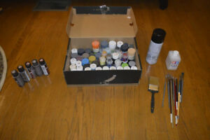 Used figurine and modelling paints, larger brushes