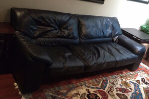 Italian Black Leather Sofa and Matching Chair