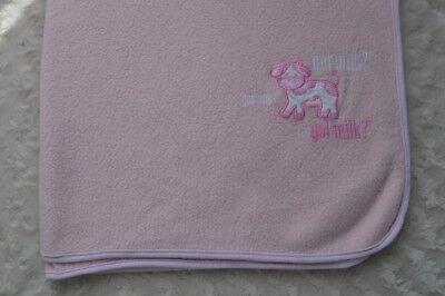Milk Baby Blanket (Got Milk? Pink Baby Blanket White Cow Dairy Farm Security Lovey Fleece )