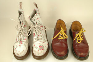 Lot of 2 Dr Doc Martens Pink Rose Boots and Cherry Oxford-US 6 E