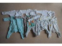 7 x Sleepsuits TU M&S Boy 0-3 months Newborn