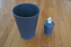 NEW CERAMIC HAND LOTION DISPENSER & GARBAGE CAN