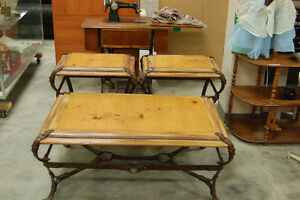 Cast Iron Leather Strap Coffee table + 2 End Tables