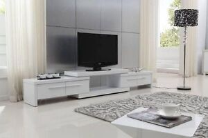White High Gloss TV entertainment unit extendable 2.1-3.0M Kellyville Ridge Blacktown Area Preview