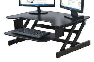 Rocelco ADR Height Adjustable Sit/Stand Desk Computer Riser Dual
