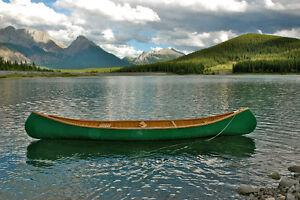 17' Hand Crafted Cedar Strip Canvas Covered Canoe