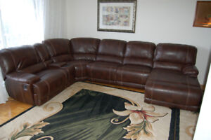 Genuine Leather Sectional Recliner Sofa Set