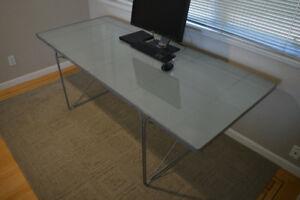 Classic design Ikea frosted glass top desk table