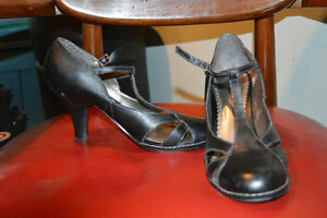 Black Leather Shoes--Size 9