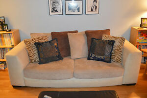 Micro-suede sofa and loveseat