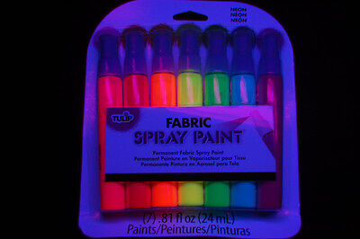 7 Piece Tulip Neon Blacklight Reactive Fabric Spray Paint Pack Mini Set (Neon Blacklight Paint)