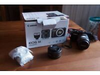 Canon EOS M, 22mm F2 lens, 18-55 image stabilised lens, Speedlight 90EX Flashgun,