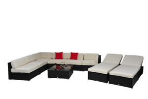 9 pcs Deluxe Outdoor Indoor Patio Rattan Wicker Sofa Sectional