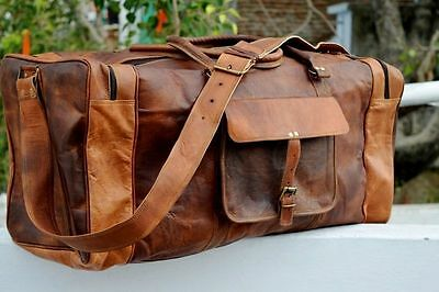 Large Men's Brown Vintage Genuine Leather Cowhide Travel Luggage Duffle Gym Bags