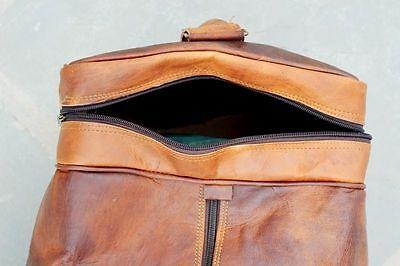 Large Men's Brown Vintage Genuine Leather Cowhide Travel Luggage Duffle Gym Bags